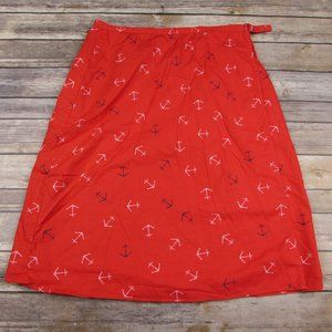 DownEast Red Nautical Wrap Skirt Medium